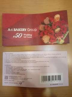 A-1 Bakery $50 coupon 4張