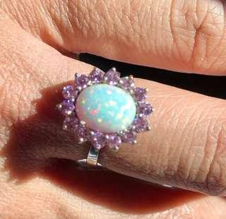 opal and pink sapphire in 14k white gold