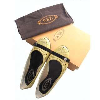 Tods Cream Patent Ballet Flats