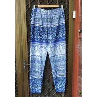 Blue Patterned Gypsy Pants Tapered Boho Festival Beach Trousers Bohemian Harem