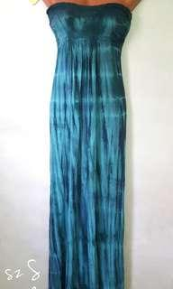 tie dyed maxi tube dress