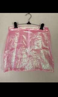 Pink holographic festival skirt