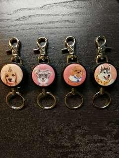 High Quality Macaron reels with retractable wire and keyring, back clip and carabiners (Dog Series)