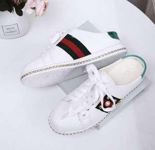 GUCCI ACE EMBELLISHED LEATHERS SLIP SNEAKERS
