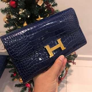 💙Good Deal!💙 Hermes Constance Wallet in Bleu Sapphire Alligator Leather GHW