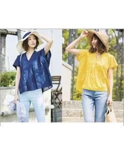 Uniqlo embroidered navy blue cotton blouse