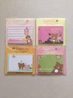 Rilakkuma, Cute Animals, Cooky Girls, Ponybrown & Romantic Shabby Memo Pad / Note Pad / Removable Adhesive Paper