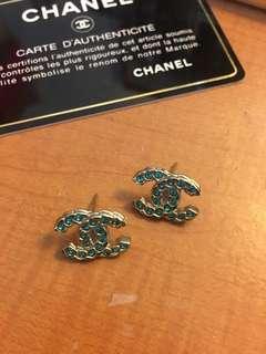 專櫃正品 Chanel 綠鑽 淡金 耳環 貼耳 耳釘