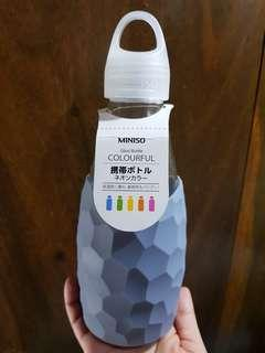 MINISO Glass water bottle with Rubber casing
