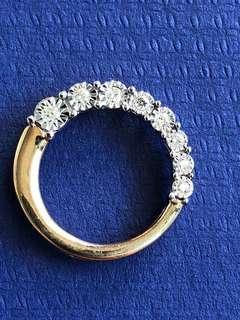 Pretty 14K Yellow & White Gold Round Brilliant Cut Diamond Pendant 0.10 Ct