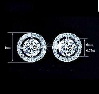 Cny! White Gold Plated Diamond Earrings