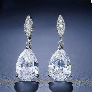 White Gold Plated Premium Crystal Earring