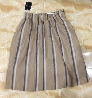 Camel Striped Midi Skirt