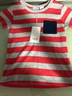 Brand new with tag branded SEED heritage stripe tshirt pocket child cny