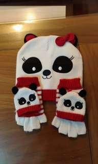 熊貓手套與毛帽