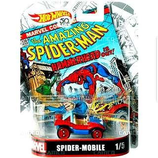 Hot Wheels 50th Anniversary Marvel Spider-Mobile Hotwheels Character Cars MISB