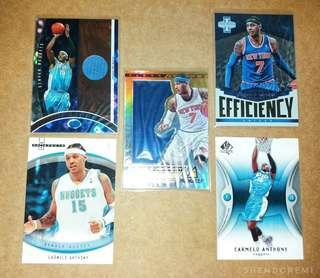 Carmelo Anthony NBA Card w/ Game Used GU Jersey Card Set