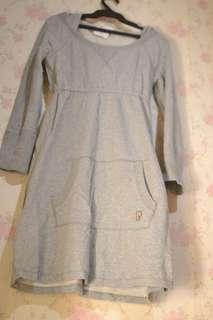 Gray dress with hood, sweater type