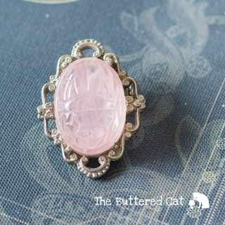 Pretty vintage pink glass scarab brooch