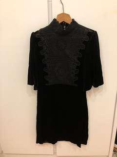 Zara 黑色絨布連身裙 black suede knit dress