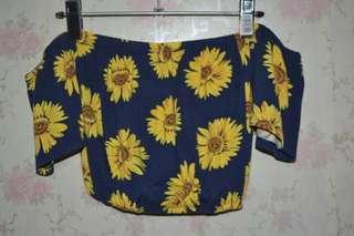 Sunflower printed terno