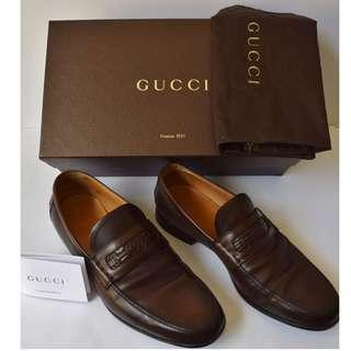 Gucci men's leather loafers moccasins betis glamour brown (Cocoa) (AU SIZE 9)