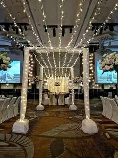 Overhead light canopy/ fairylight set up /fairylight aisle