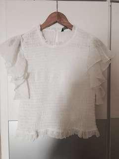 Zara white ultra feminine ruffle blouse