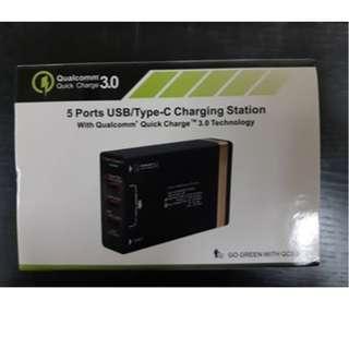 三腳 充電器 5port usb/type-c charger station