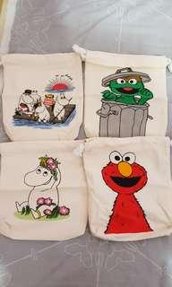 Moomin and Sesame Street Pouches
