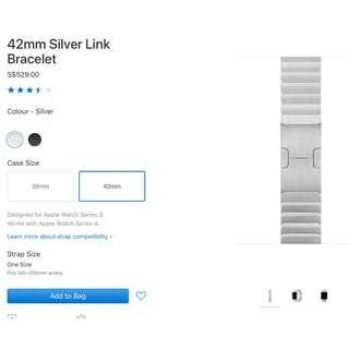 Authentic 42mm Apple Stainless Steel Link Bracelet(250sgd)