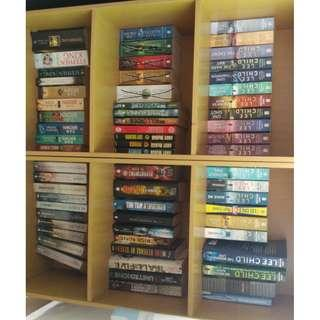 Bunch of Books. Lee Child, Game of Thrones, Department 19, Maze Runner, Dan Brown, Stephen King, Assasssin's Creed, Pittacus Lore, Hunger Games, Divergent, House of Secrets, Mr.Midnight, 39 Clues, Ender's Game, Hobbit