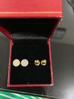 Illusion earrings in 18k gold / round earrings in 14k gold