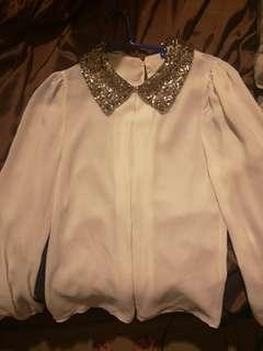 White sequins blouse