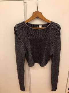 H&M 閃閃銀灰色針織衫bling bling silver-grey knit top