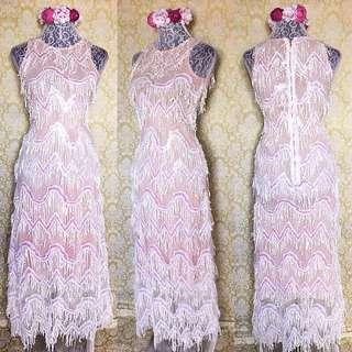 sequined tassle gown