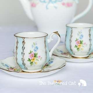 Pretty pastel blue vintage bone china demitasse / expresso / small cup and saucer