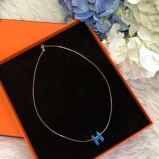🍊Good for CNY!🍊 Hermes Pop H Necklace in Blue Enamel GHW