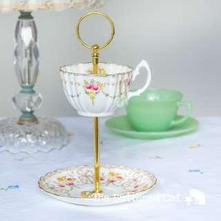 Teacup trinket and jewelry stand / jewelry organiser, made from hand-decorated antique teacup and saucer