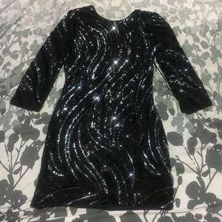 Sequined party black mini