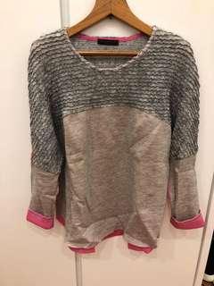 🇰🇷韓國灰色粉紅色棉質上衣 Korea grey x pink cotton top