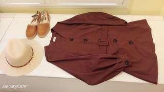 🚚 我的南法風情 棉麻料長版襯衫式洋裝 雙邊有口袋 布朗尼色系 全新