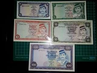 [Asia] Brunei 2nd Series ($1-$100 Ringgit) Old Paper Notes (1979-1988 Series)