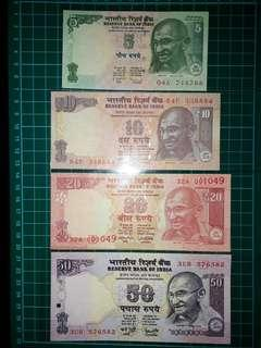 [Asia] India (5-50 Rupees) Old Paper Notes (2001-2017 Series)