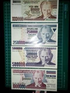 [Europe] Turkey (100000-1000000 Liras) Old Paper Notes (1970 Series)