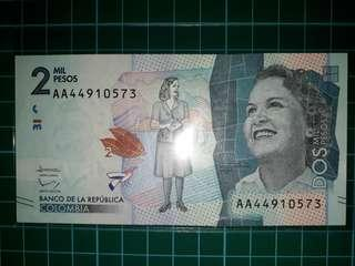 [America] Colombia 2000 Pesos Paper Note (2015 Series)