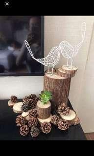 原木樹輪白鐵絲對鳥裝飾合婚禮佈置