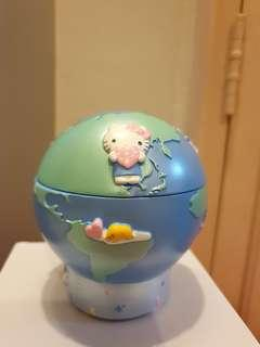 Rare Sanrio Characters Hello Kitty etc Ceramic Globe Jewellery Case