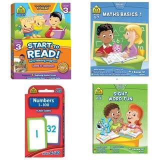 [Juniorcloset] 🆕️ School Zone series Maths Basics 1/ Sight Word Fun/ Start to Read Level 3 Readers (Preschool)