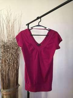 Large wild pink v-neck top